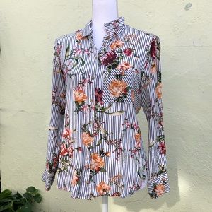 Striped Floral Button Up Multicolor Collared M